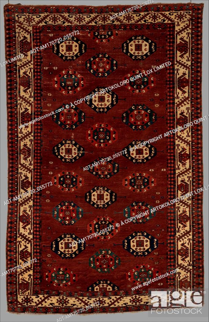 Stock Photo: Yomut Main Carpet, probably late 18th century, Attributed to Western Turkmenistan, Central Asia, Wool pile on wool and cotton foundation, H.