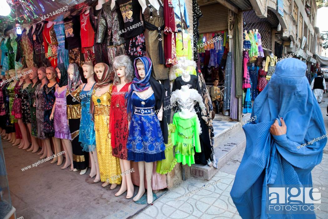 Stock Photo: clothes shop in herat, Afghanistan.