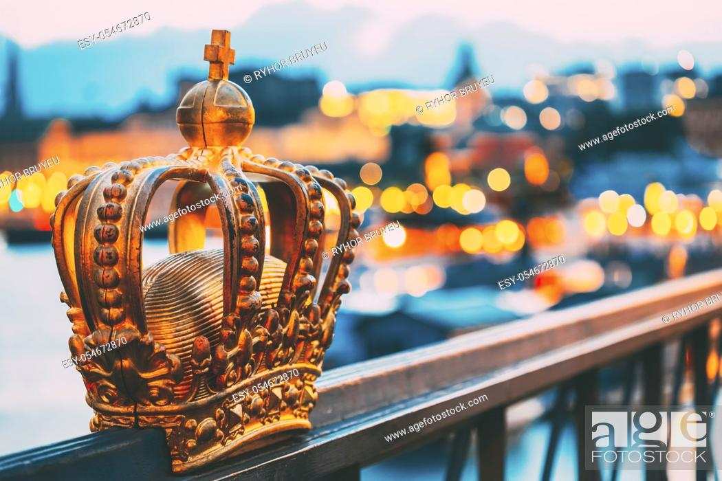 Stock Photo: Skeppsholmsbron (Skeppsholm Bridge) With Its Famous Golden Crown In Stockholm, Sweden.