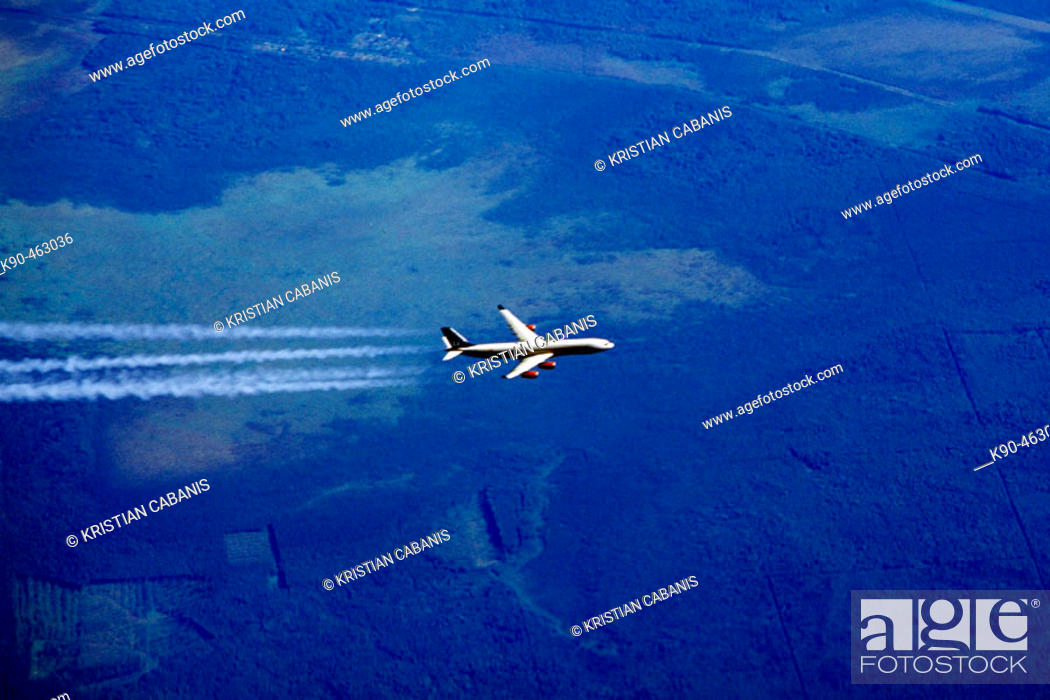 Stock Photo: Airbus A340 inflight.