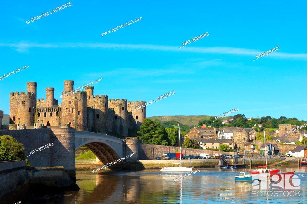Stock Photo: Conwy Castle, Conwy, Gwynedd, Wales, UK.