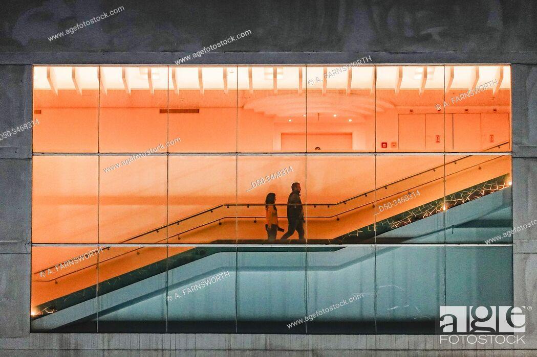 Stock Photo: Tel Aviv, Israel People on an escalator in the HaBima theatre.