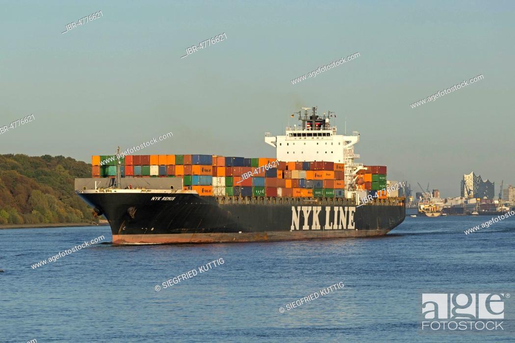Container ship Nyk Line on Elbe river, Finkenwerder, Hamburg