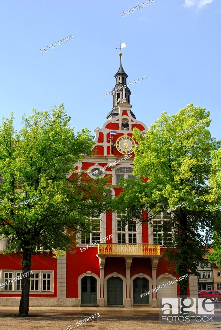 Stock Photo: Facade and decorative pediment of the Rennaissance-style town hall, Arnstadt, Thuringia, Germany.