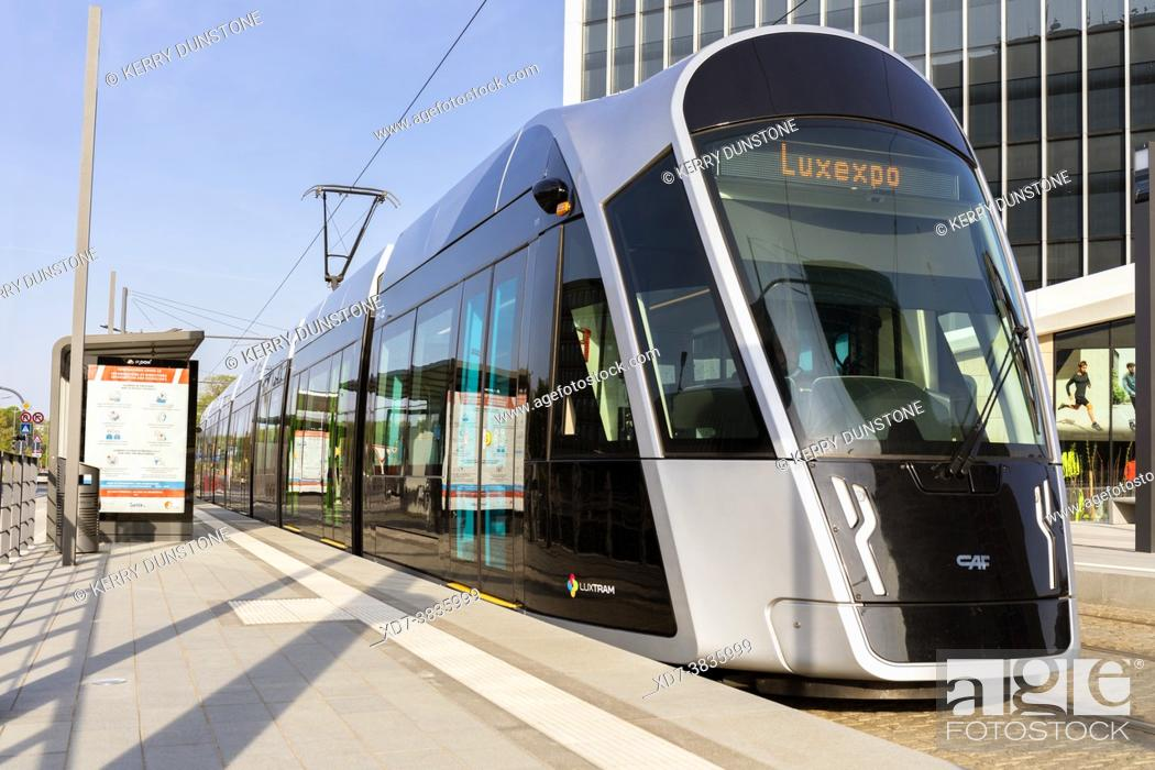 Stock Photo: Europe, Luxembourg, Luxembourg City, Kirchberg, Modern Tram pulling up at the Philharmonie - Mudam Stop.