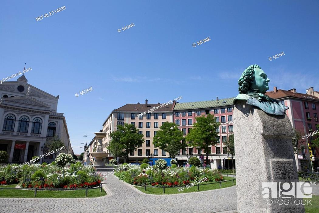 Stock Photo: Gärtnerplatz, Friedrich Von Gartner statue, Munich, Bavaria, Germany.