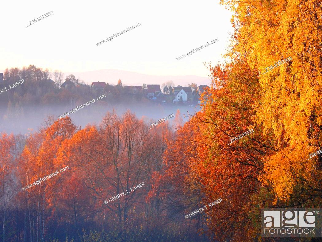 Stock Photo: Autumn landscape in lesser Poland near Krakow, Poland.