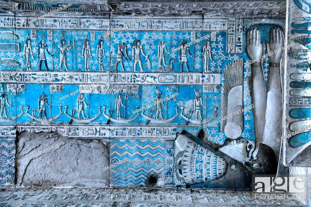 Stock Photo: Dendera Egypt, ptolemaic temple dedicated to the goddess Hathor. Carvings on the ceiling recently cleaned. The goddess Nut.