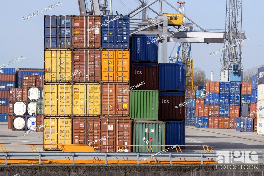Stock Photo: NETHERLANDS, ROTTERDAM, - APRIL 19, 2018, Maritime Cargo Business.