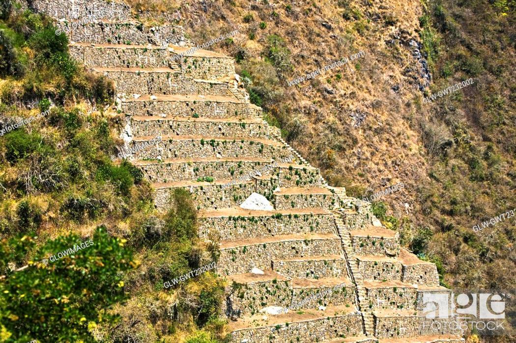 Stock Photo: Old ruins of steps in a forest, Choquequirao, Inca, Cusco Region, Peru.