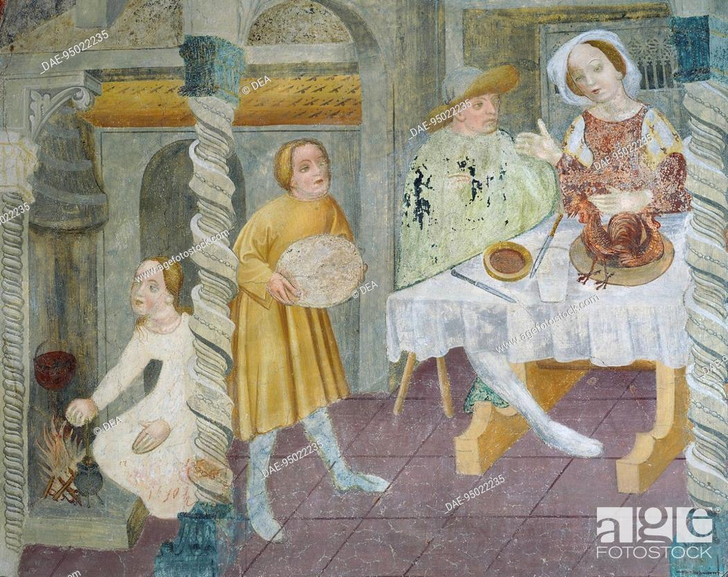 Stock Photo: Interior showing a dining scene, ceiling fresco of San Giacomo (St James) Church di Castellaz, near Tramin, Trentino-Alto Adige. Italy, 15th century.