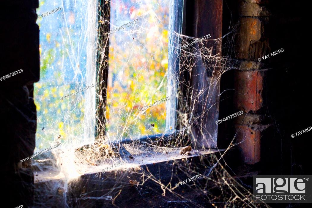 Stock Photo: Old window with cobweb around and darkness inside.