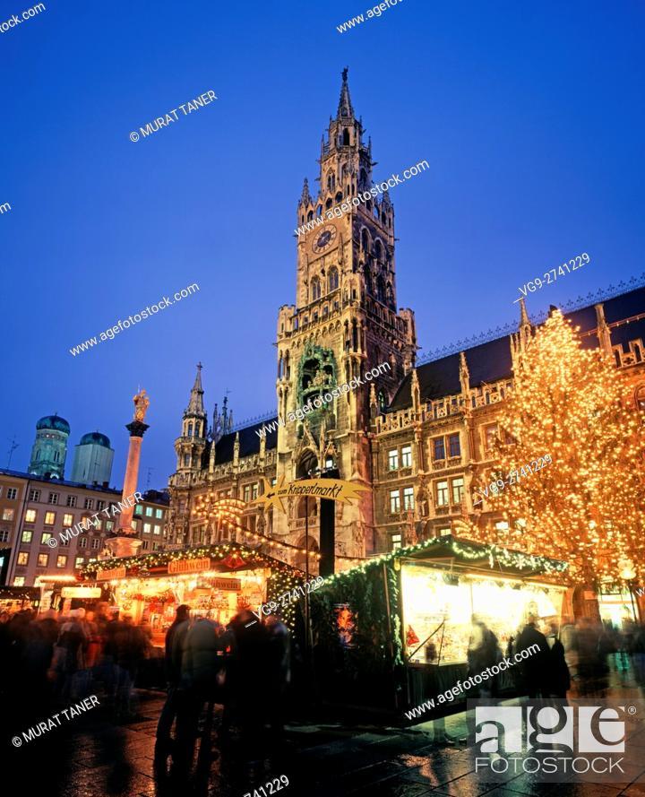 Munich Germany Christmas.Marienplatz Christmas Market Munich Germany Stock Photo