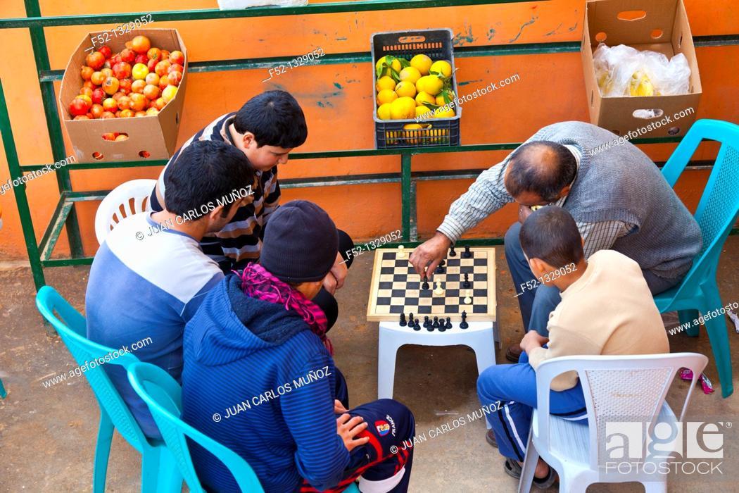 Stock Photo: Playing chess, Ajloun Valley, Jordan, Middle East.