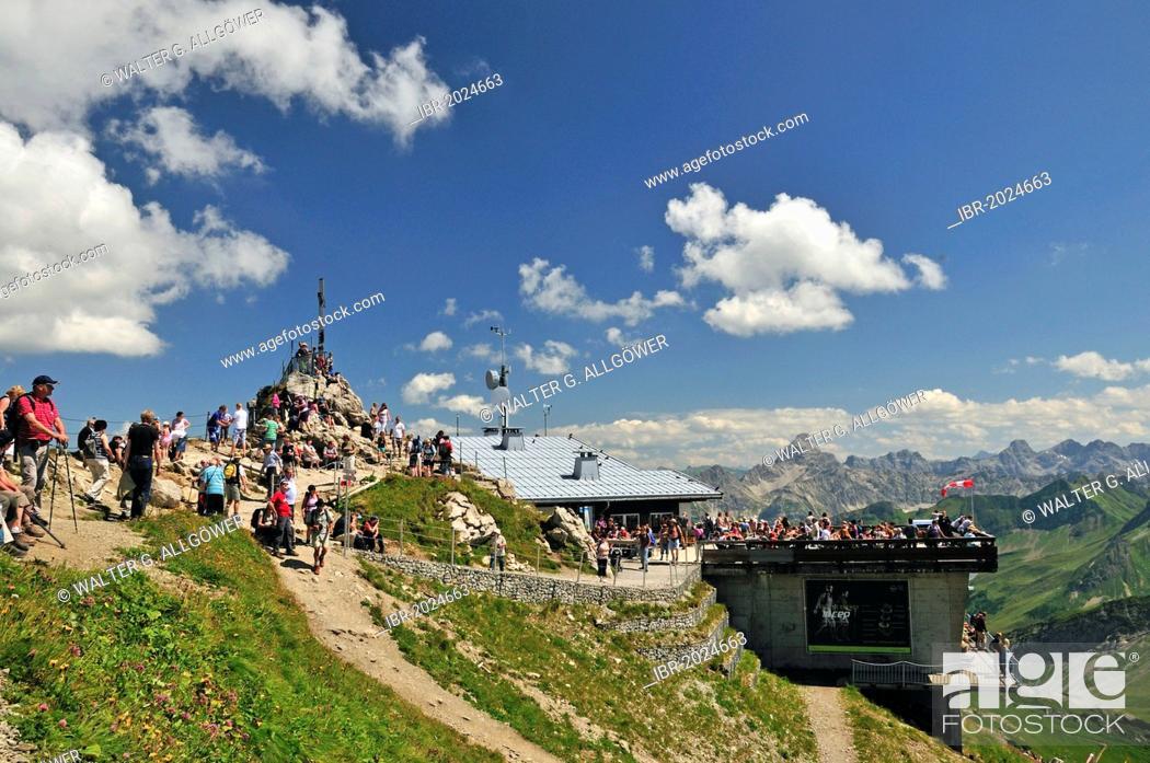 Stock Photo: Cross on the summit of Nebelhorn mountain, 2224m, Allgaeu Alps, Oberallgaeu district, Bavaria, Germany, Europe, PublicGround.