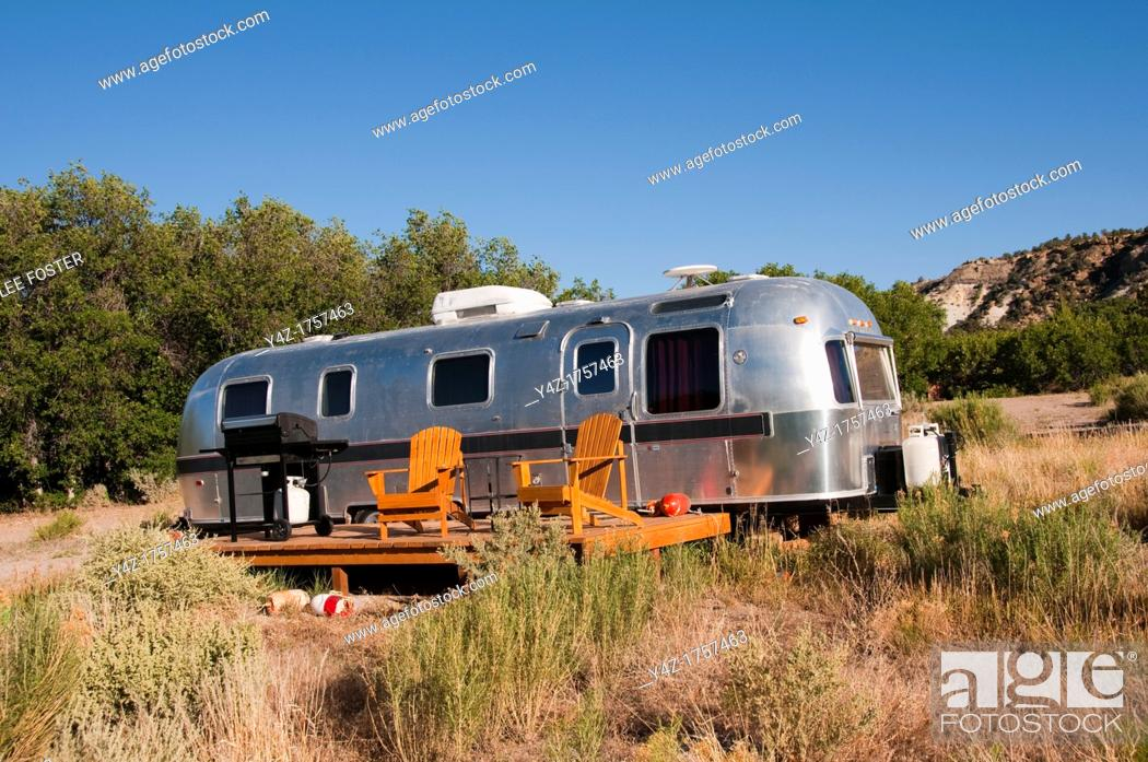 Stock Photo: USA, Utah, classic Airstream travel trailers available as lodging at the Shooting Star Drive-In in Escalante.