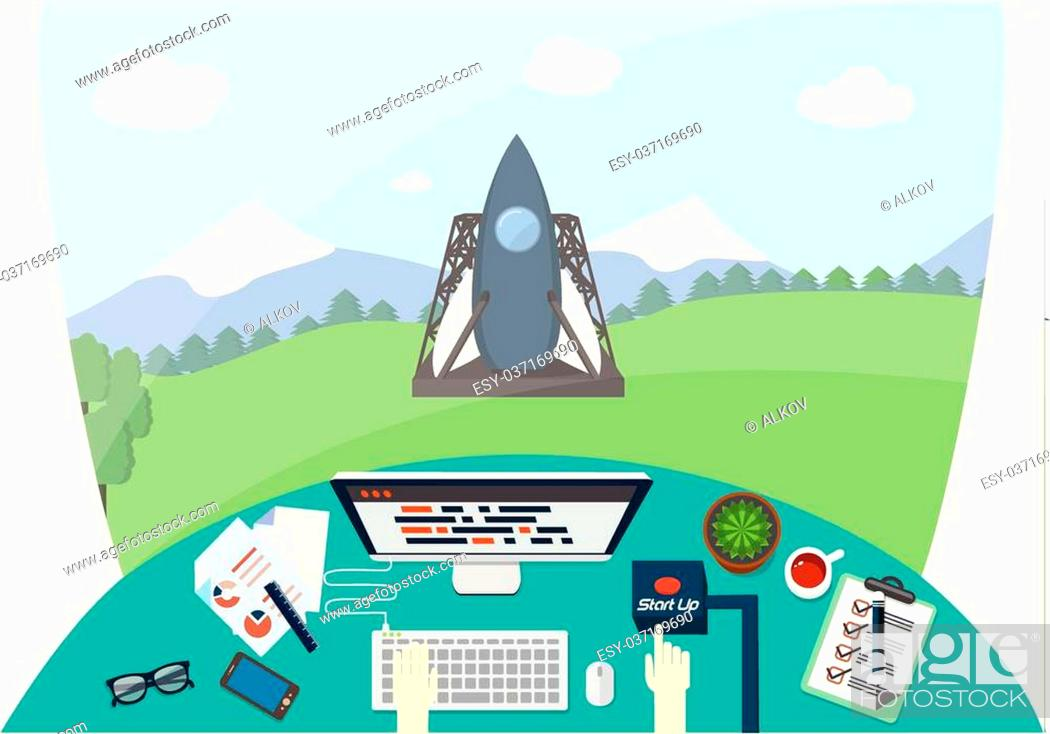 Stock Vector: Hand of engineer is pushing start up button, while rocket is on launcher vehicle. Creative person at work ready to launch the project.