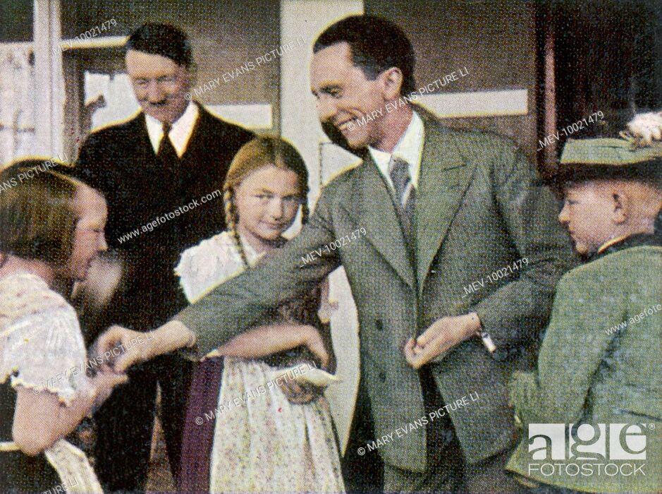 Stock Photo: PAUL JOSEPH GOEBBELS (1897-1945), German statesman, with Adolf Hitler at Obersalzburg (Berchtesgarten ?), circa 1933.