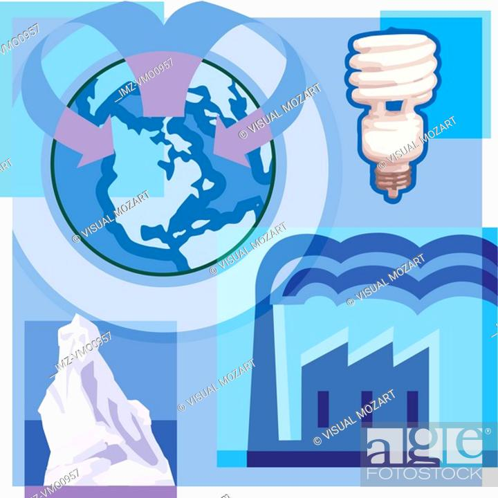 Stock Photo: Montage illustration about global warming containing a low-watt lightbulb, iceberg, and industrial pollution.