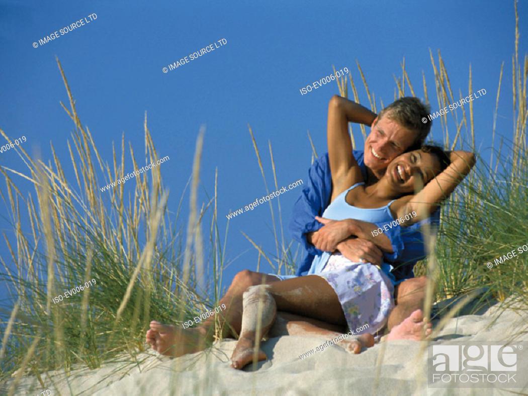 Stock Photo: Couple on beach.