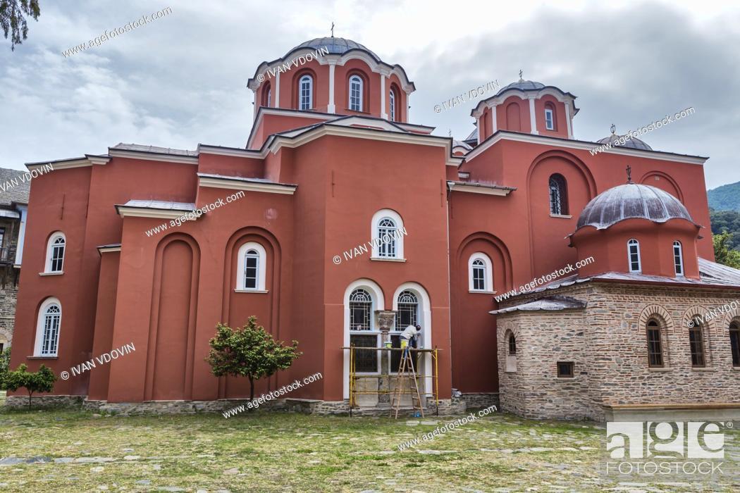 Stock Photo: Katholikon church, Iviron monastery, Iveron, Mount Athos, Athos peninsula, Greece.