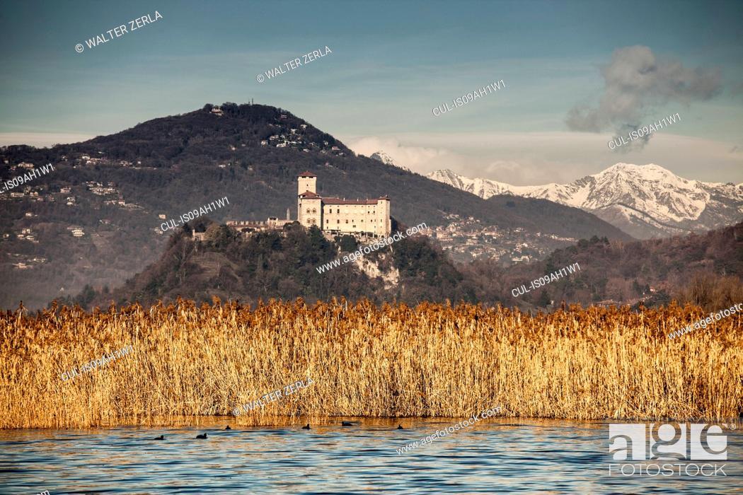 Stock Photo: Reeds and Castello di Angera, Lake Maggiore, Italy.