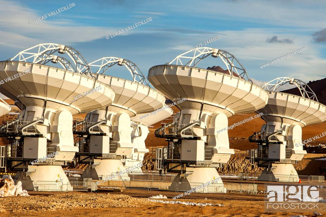Stock Photo: ALMA observatory, Antennas in plain of Chajnantor, 5000 meters of altitude,Array Operations Site (AOS), Atacama desert. Region de Antofagasta. Chile.
