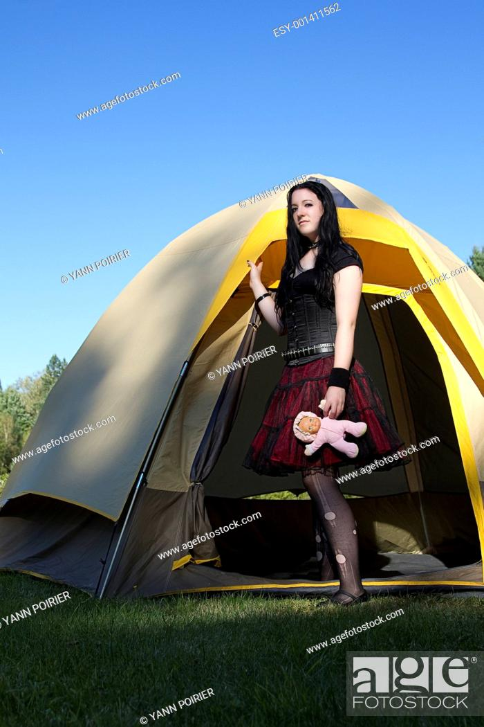 Stock Photo: A goth camping.