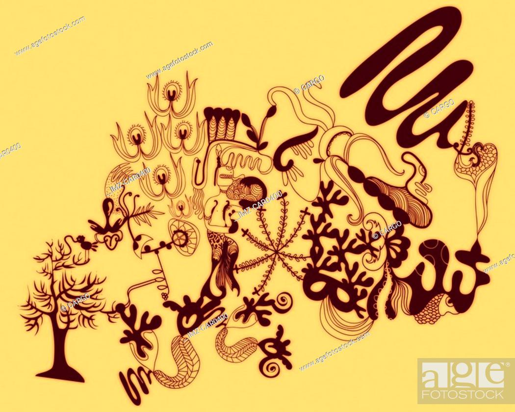 Stock Photo: Orange abstract organic and floral shapes.