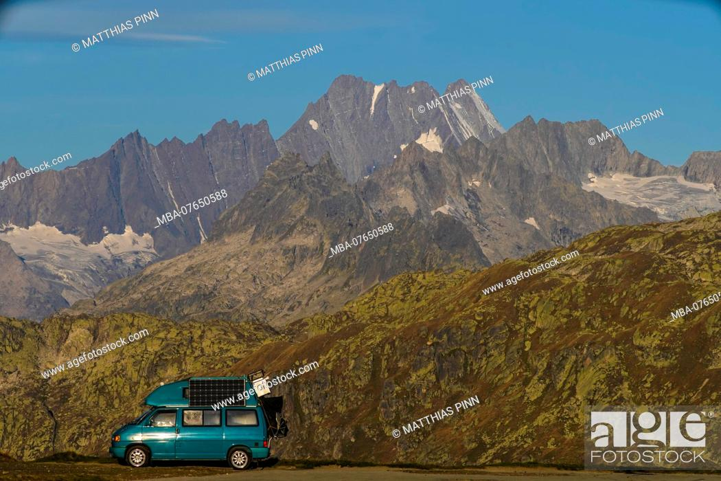 Stock Photo: With the camper at the Furka Pass.