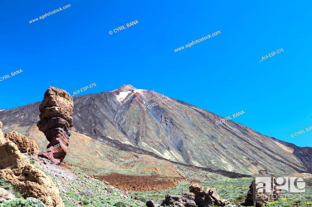 Stock Photo: Spain - Canary Islands - Tenerife - National Park Las Canadas del Teide and peak of Teide - Los Roques de Garcia.