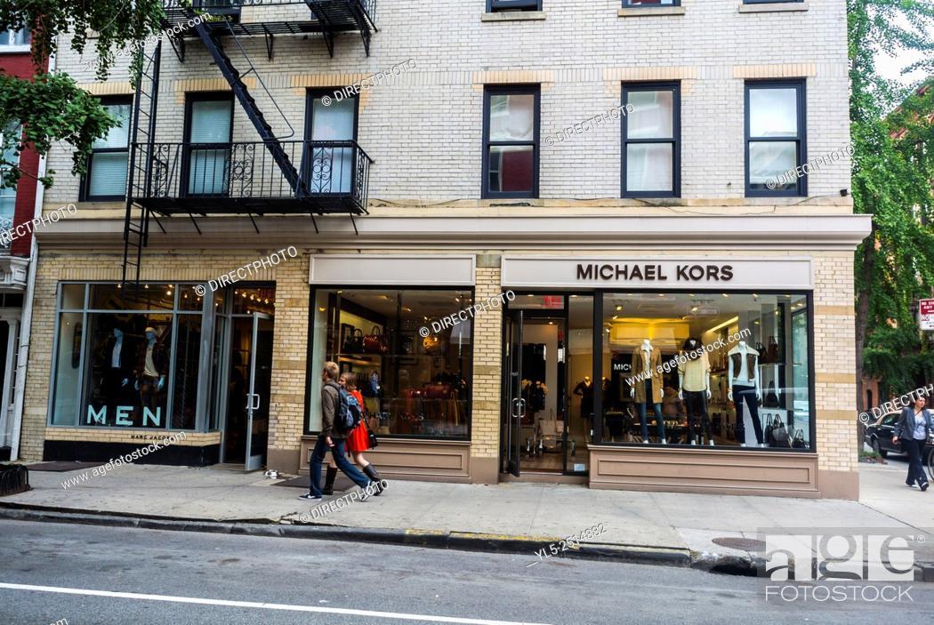 "Stock Photo: New York City, NY, USA, Bleecker Street, Luxury Brand Shop, """"Michael Koos"""" Shopping Street Scenes, Greenwich Village."