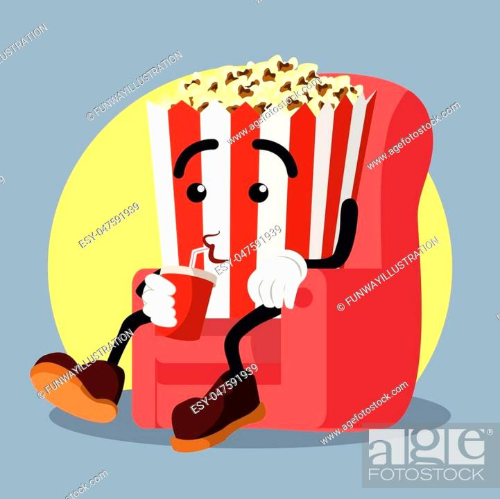 Stock Vector: popcorn drinking soda while watching movie.