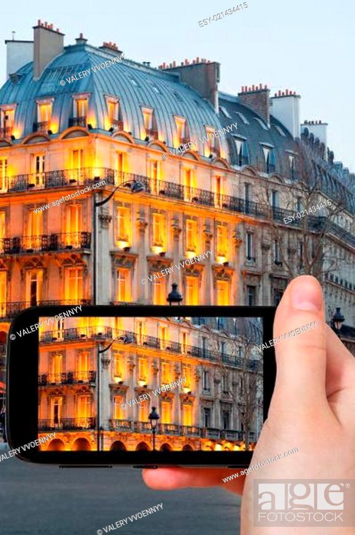Stock Photo: tourist taking photo of boulevard Saint Michel.