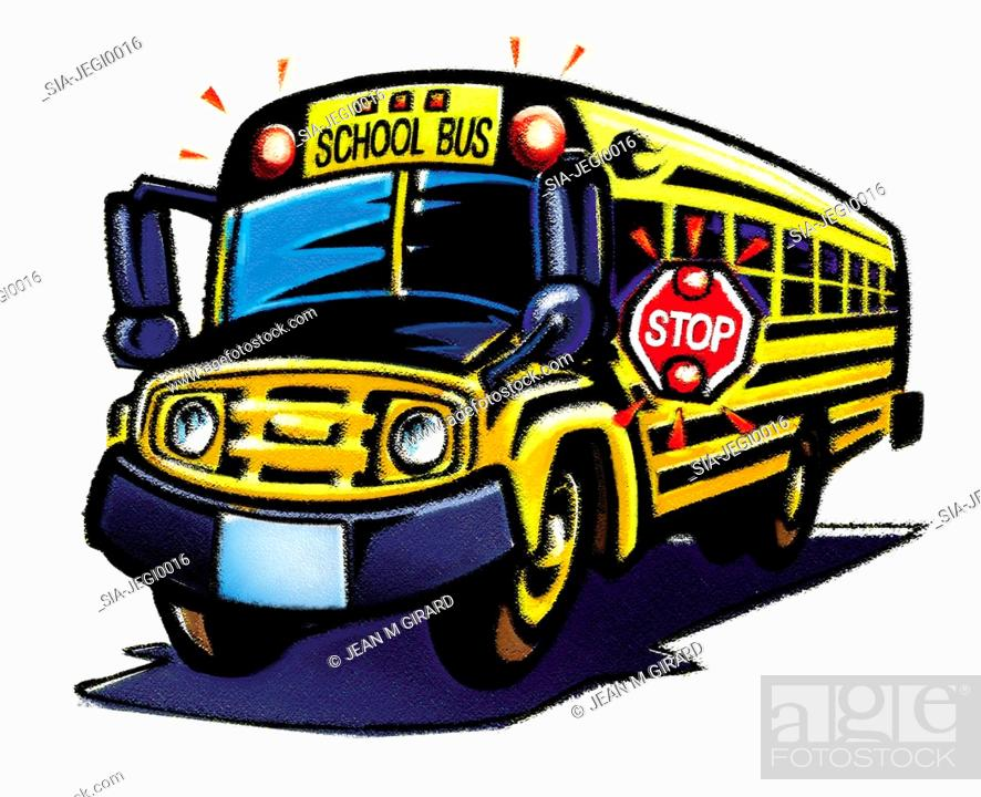 Stock Photo: Yellow schoolbus with 'stop' sign.