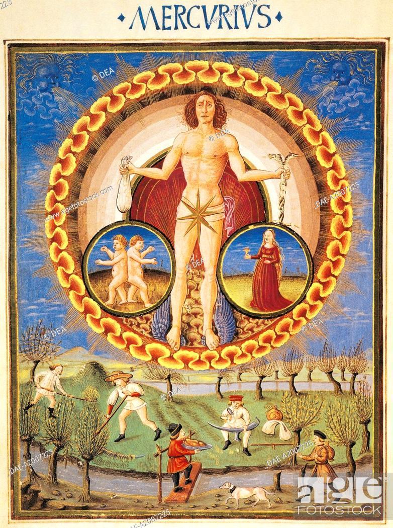 Stock Photo: The Planet Mercury and work in the field, miniature from De Sphaera by Leonardo Dati, Latin Manuscript folio 209 verso 10, 1470, Italy.