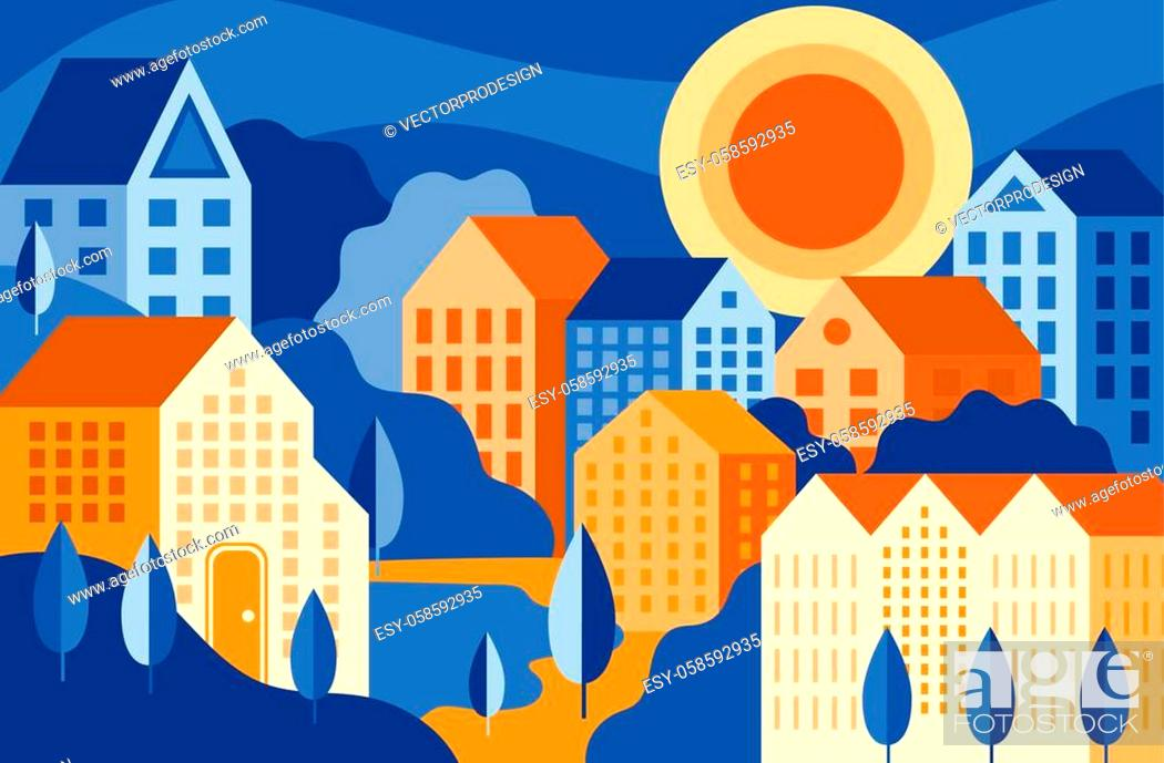 Vector: Colourful city landscape with buildings and park vector illustration. Bright composition of suburb flat style. Simple drawing of bedroom community.