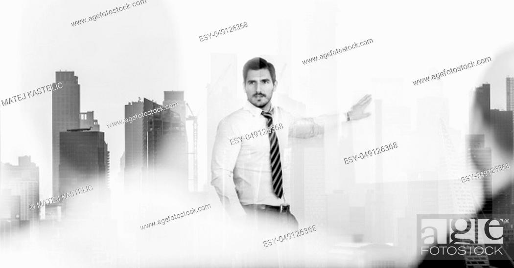 Stock Photo: Corporate business, entrepreneurship and economic prosperity concep. Confident company leader on business meeting against new york city manhattan buildings and.