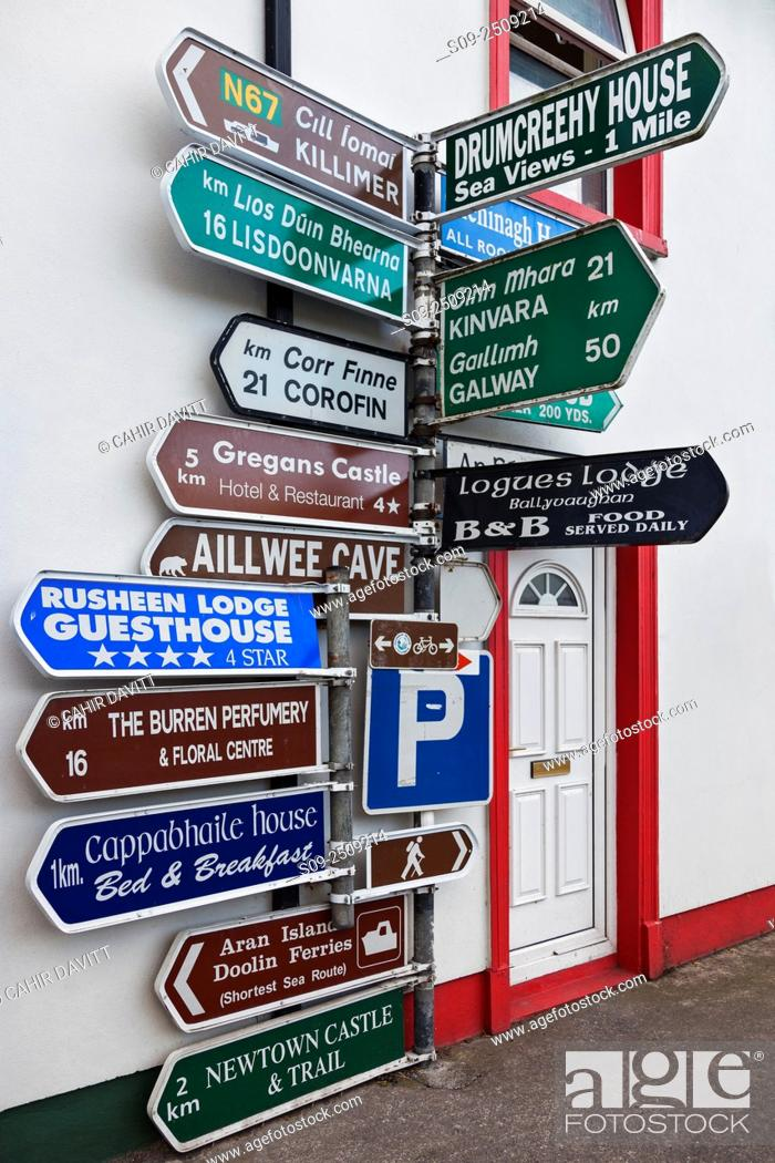 Stock Photo: Directional signage at the crossroads in Ballyvaughan Village, Co. Clare, Ireland.