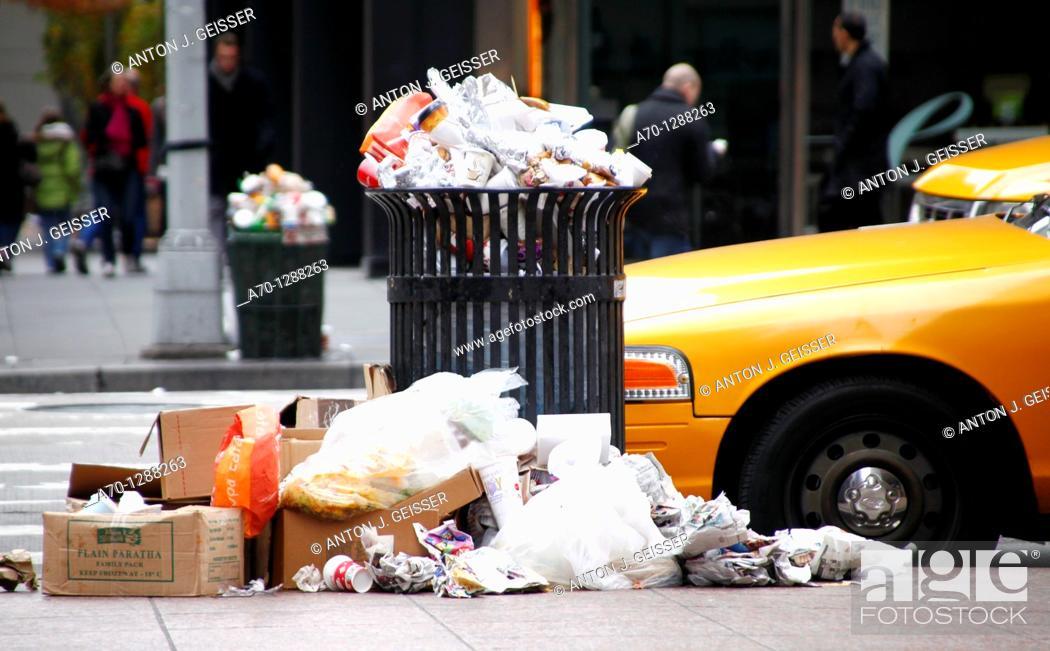 Stock Photo: New York City, trash , garbage , manhattan.