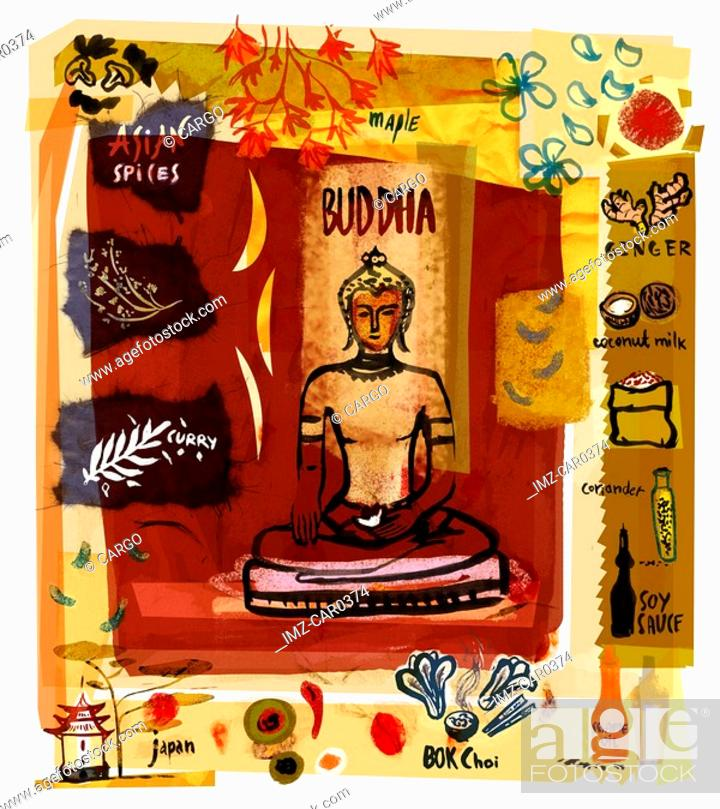 Stock Photo: Collage of a Buddha statue with Asian spices and food.