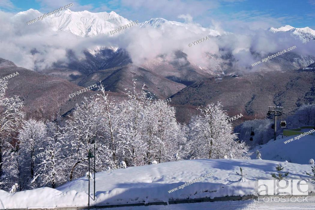 Stock Photo: North slope Aibga Ridge of Western Caucasus at ski resort Gorky Gorod.