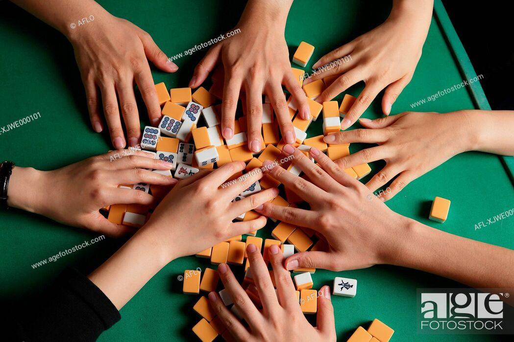 Stock Photo: Japanese people playing Mahjong.