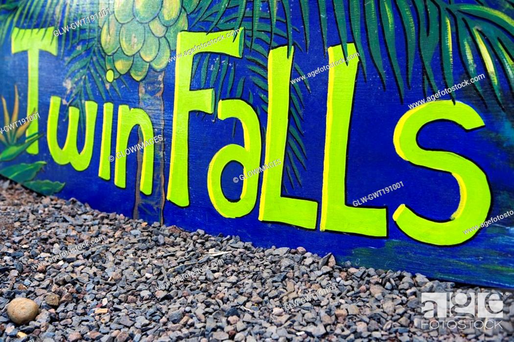 Stock Photo: Close-up of a banner, Twin Falls, Maui, Hawaii Islands, USA.