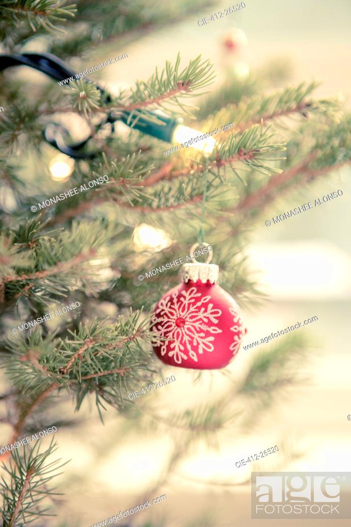 Photo de stock: Red ornament and string lights on Christmas tree.