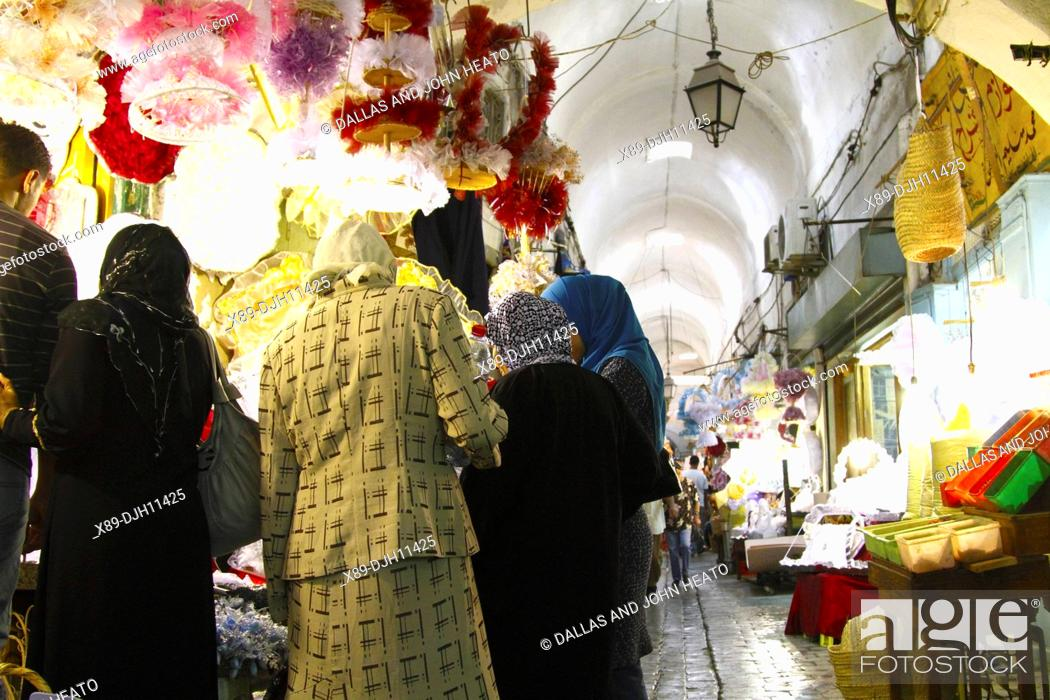 Stock Photo: Africa, North Africa, Tunisia, Tunis, Covered Alley in the Medina Marketplace, Souk.
