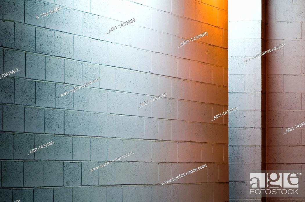 Stock Photo: Illuminated wall of loading bay  Sidney, Vancouver Island, British Columbia, Canada.