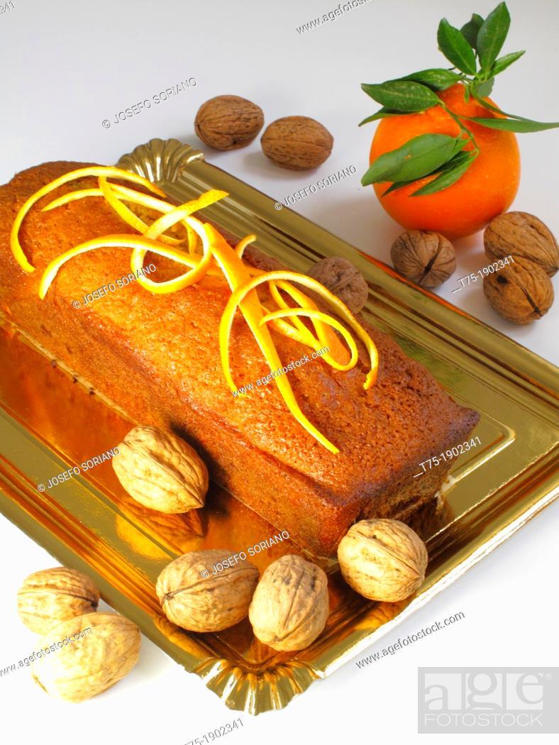 Stock Photo: Cake with orange and walnuts.