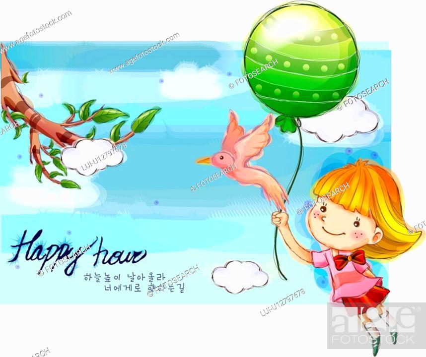 Stock Photo: fancy, fairy tale, sky, bird, baloon, nature.