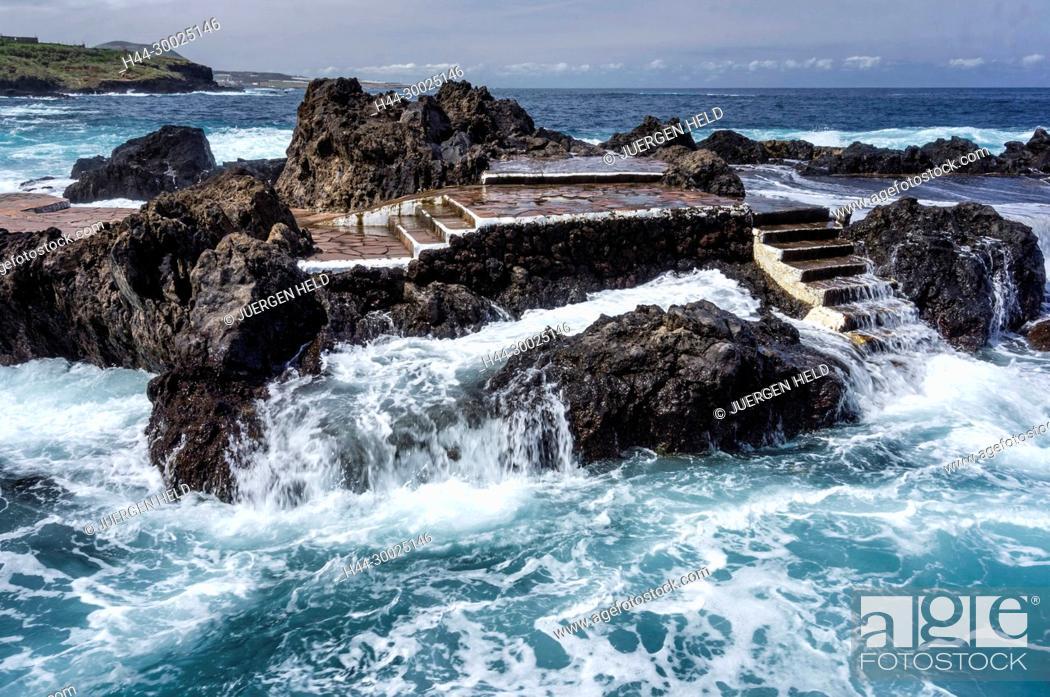 Stock Photo: Waves at volcanic coast near Garachico, Tenerife Island, Canary Islands, Spain.